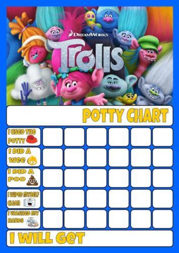 TROLLS POTTY//TOILET TRAINING REWARD CHART free stars /& pen