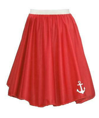 "22"" Donna Rosso Naval Stampato Anchor Sailor Costume Skater Gonna-mostra Il Titolo Originale Firm In Structure"