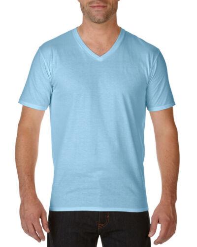 Gildan Premium Cotton Adult V-Neck T-Shirt 11-Colour S-2XL Work Wear Causal Top