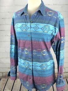Cabelas-Aztec-Shirt-Flannel-Southwest-Top-Blue-Purple-Women-039-s-Medium-100-Cotton