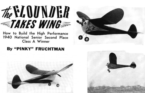 "Model Airplane Plans FF Vintage 'Flounder' Class A 40"" Wingspan 1941"