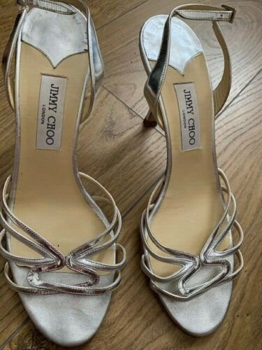 Jimmy Choo silver leather sandals size 41.5 italia