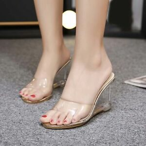 0addc4ec439 Image is loading Womens-Open-Toe-Clear-Transparent-Sandal-Slipper-Hollow-