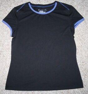 Tek-Gear-Black-Blue-Crewneck-Tee-T-Shirt-Top-Solid-Polyester-Nylon-Size-Medium