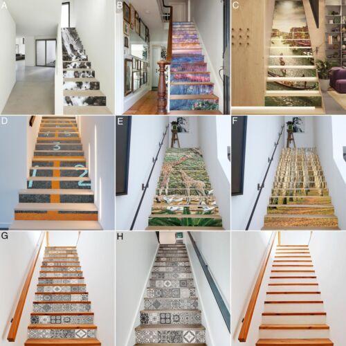 EE/_ EG/_ 13Pcs 3D Selfadhesive Staircase Stair Riser Floor Sticker DIY Wall Decal