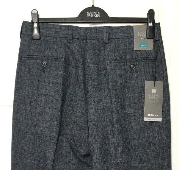 M&S Marks W30 L33 Mens Luxe Grey Reg Fit Flat Front Linen Miracle Trousers BNWT