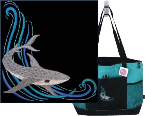 Shark on Wave Monogram Gemline Bag Turquoise Zipper Tote Beach Vacation Gift NWT