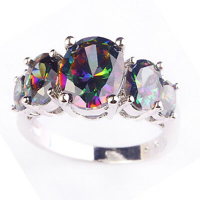 Multi-Color Rainbow Topaz Jewelry Gemstone AAA Silver Ring Size 6 7 8 9 10 Oval
