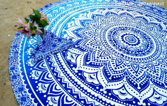"Indian 46"" Round Ombra Mandala Tapestry Yoga mat Beach Throw Bohemian"