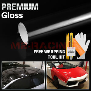 ** Gloss Glossy Black Vinyl Car Wrap Sticker Decal Bubble Free Air Release Film