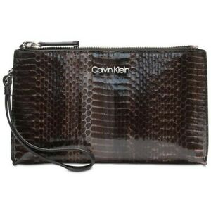 Calvin-Klein-Snakeskin-Python-Print-Wristlet-Purse-Bag-NEW