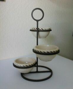 POTTERY-BARN-Metal-3-Tier-Stand-with-3-Bowls-Portugal