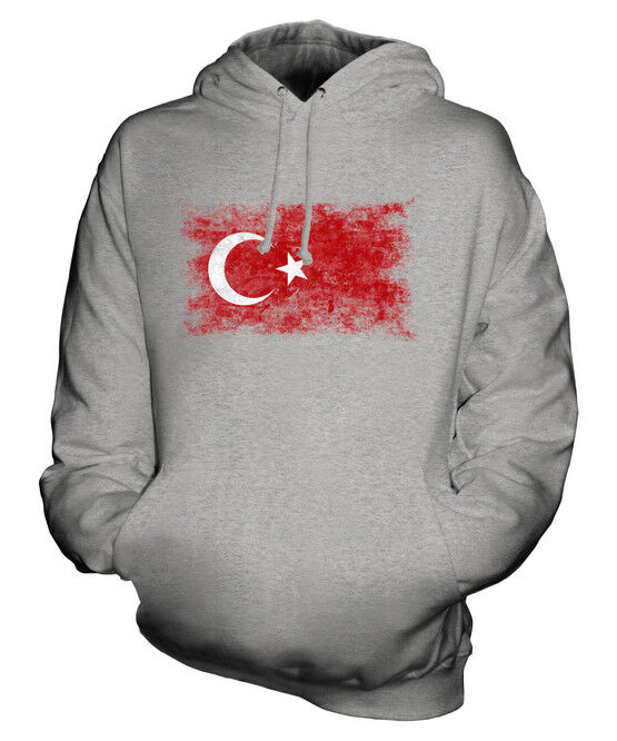 TURKEY DISTRESSED FLAG UNISEX HOODIE TOP TURKIYE FOOTBALL TURKISH GIFT