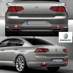 VW-Passat-B8-Fits-2014-2017-Chrome-Exhaust-Deflector-Frame-2pcs-Stainless-Steel