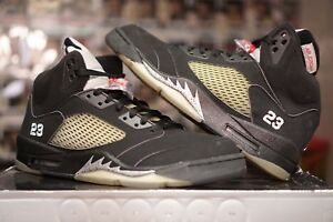 b5efb7033b9a21 Nike Air Jordan 5 Retro V Black Metallic Silver 2007 Deadstock Sz 12 ...
