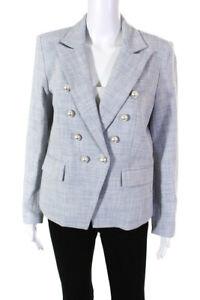 Generation Love Womens Abby Tweed Blazer Jacket Light Blue Size Large