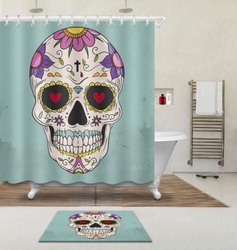 "60//72//79/""Love In Eye Skull-Waterproof Fabric Polyester Shower Curtain /&Mat /&Hook"