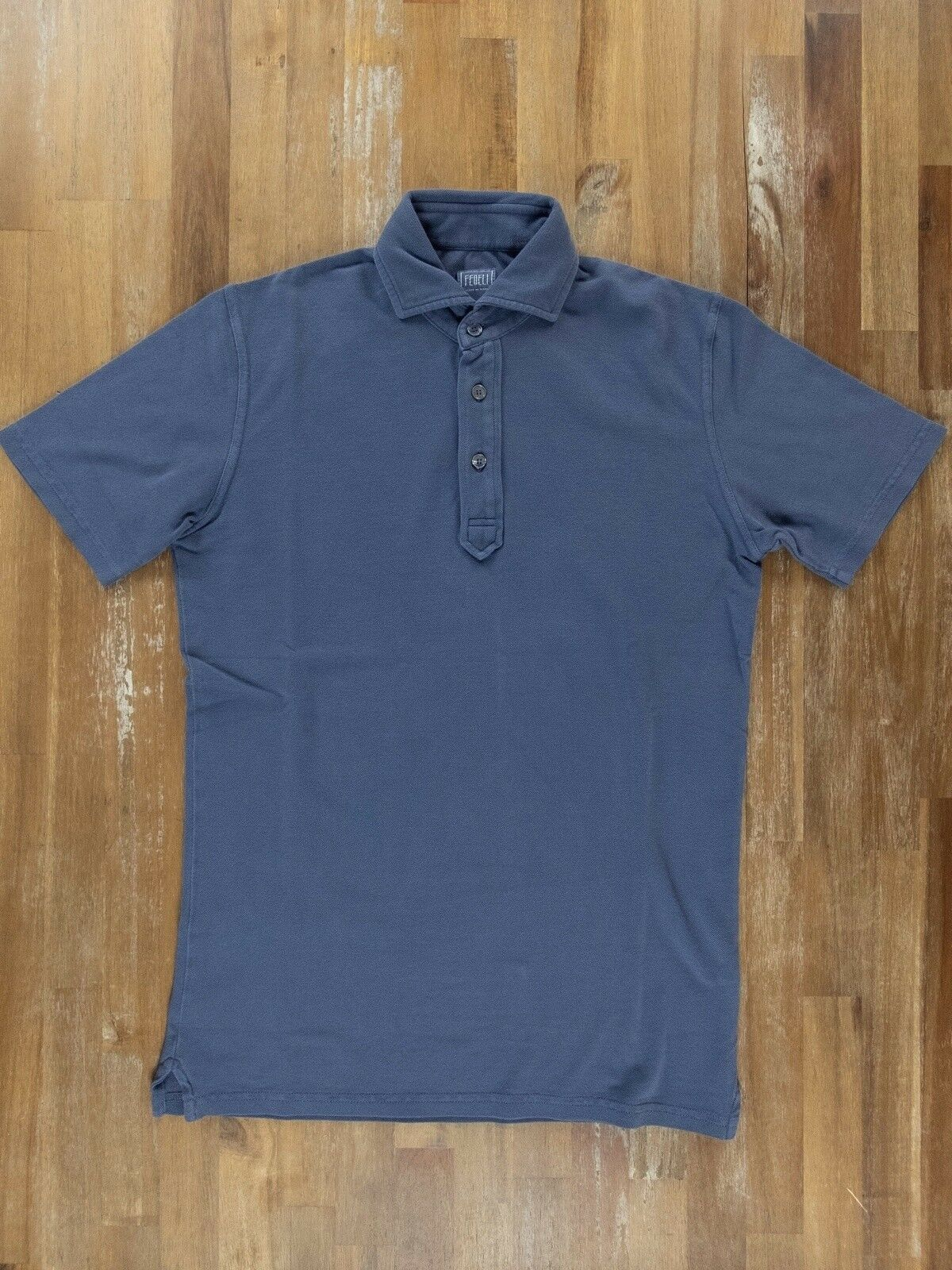 FEDELI slim-fit bluee polo shirt authentic - Size Medium   48 NWOT