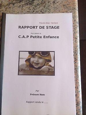 Rapport Stage Creche Ecole Mat Cap Petite Enfance Envoi Rapide Apres Paiement Ebay