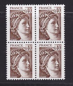 FRANCE-N-2118a-MNH-Variete-sans-bande-de-Phosphore-bloc-4-TB-cote-32