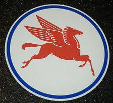2 X MOBIL OILS PEGASUS CIRCULAR HORSE CAR STICKERS  HOTROD RATLOOK FREEPOST
