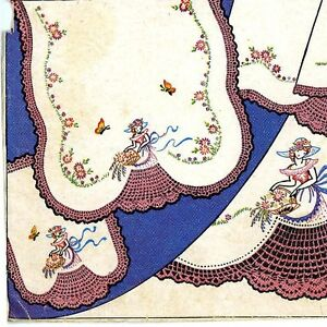 Vintage-Embroidery-192-Crinoline-Lady-w-crochet-skirt-for-Pillow-Case-Vanity-Set
