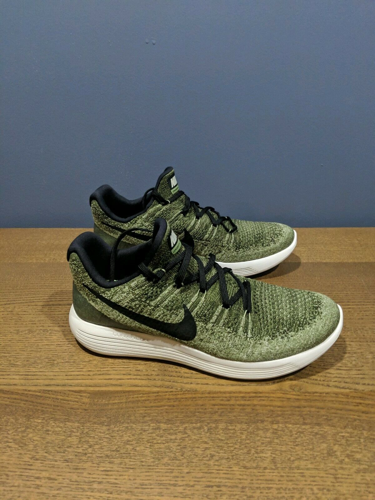 Nike Men's Lunarepic Low Flyknit 2  Green Black Palm Green Running shoes size 11