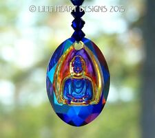m/w Swarovski Crystal AB Blue Medicine Buddha Suncatcher Lilli Heart Designs