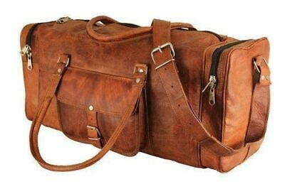 Men/'s Genuine Leather Brown Travel Gym Sport Luggage Weekend Duffle Bag 30/""
