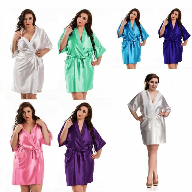 Nine X Satin Dressing Gown Plus Size 8-26 Bridesmaid Robe Red 8 Nude ...