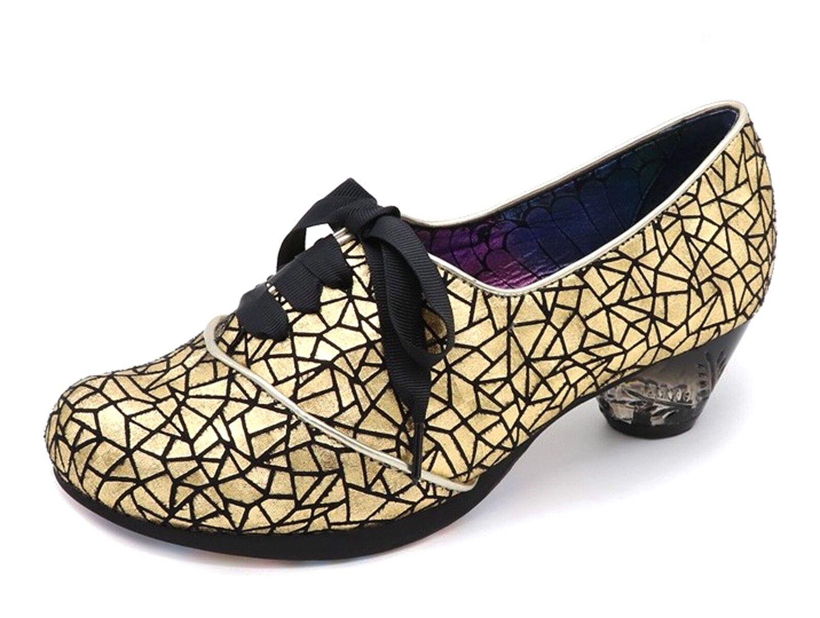 Irregular Choice NEW Curio low heel heel heel gold black metallic lace up shoes sizes 3-9 7073d8