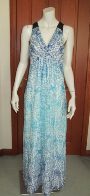 SABA BUTTERFLY MAXI DRESS Size 8 sleeveless white-shades of blue silk new tag
