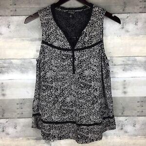 Lucky-Brand-Womens-Size-S-Split-Neck-Top-Crochet-Inset-Floral-Print-Flowy-Hem
