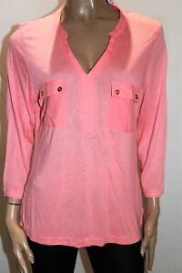 TARGET-Brand-Pink-Long-Sleeve-V-Neck-Viscose-Blouse-Top-Size-12-BNWT-RB66