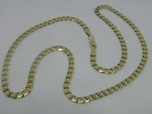 9ct-YELLOW-GOLD-CURB-LINK-NECK-CHAIN-NECKLACE-22-034-CURB-CHAIN-HALLMARKED