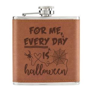 Pour-Me-Quotidien-Est-Halloween-170ml-Cuir-PU-Hip-Flasque-Fauve-Ghost-Citrouille