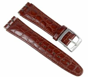Minott-Ersatzband-Uhrenarmband-Leder-Band-Braunrot-passend-zu-Swatch-Uhren