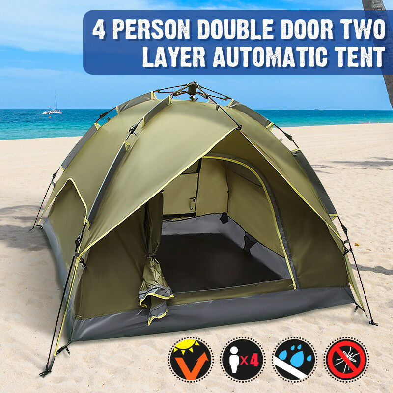 3-4 Person 2 in 1 Portable Camping Tent Double-layer Waterproof Outdoor Hiking