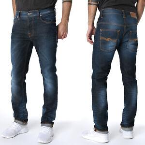 B-Ware NEU Nudie Herren Slim Fit Stretch Jeans Thin Finn Cloudy Steel - W31 L32