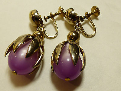VTG Gold wash Silver tone metal Purple lucite Thermoset screw clip on earrings