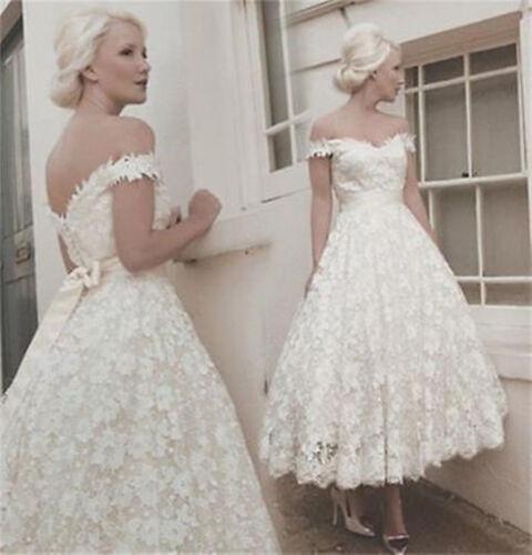 A Line Ivory// White Wedding Dress Bridal Gown Tea Length Short Lace Off Shoulder