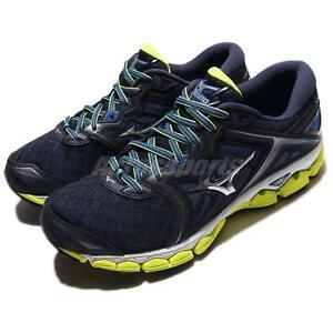Mizuno-Wave-Sky-2E-Wide-Navy-Yellow-Men-Running-Shoes-Sneakers-J1GC17-1105