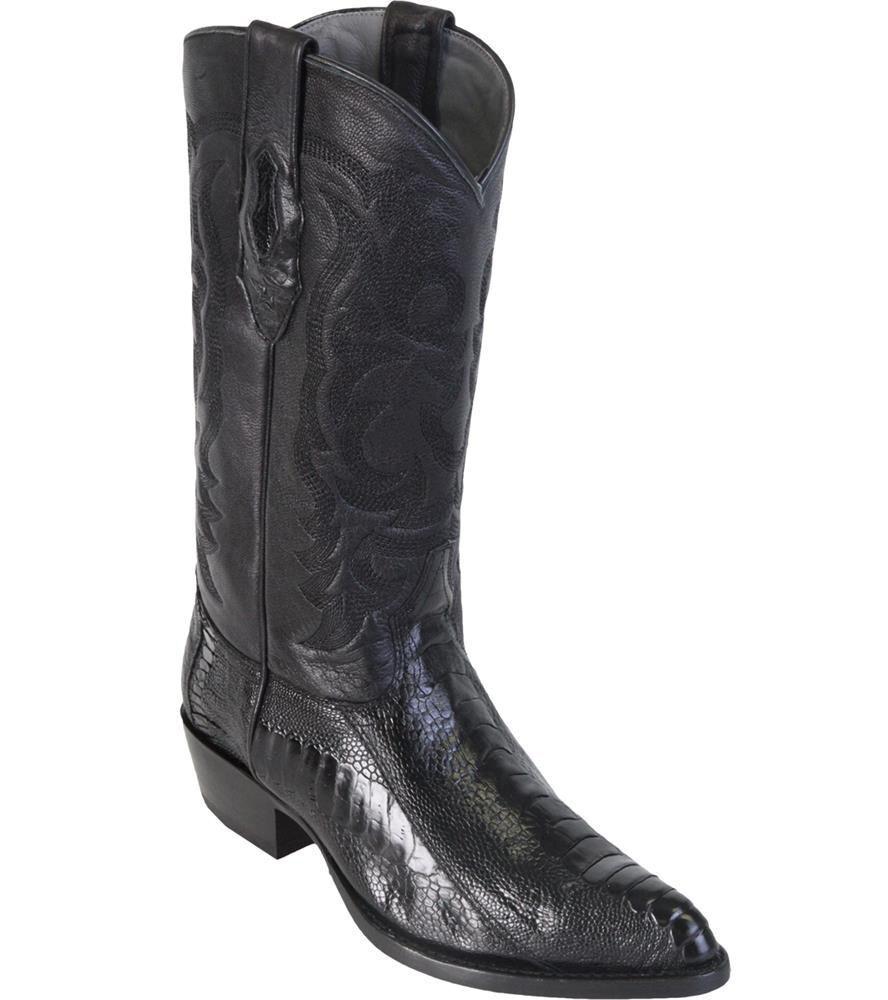 LOS ALTOS BLACK GENUINE OSTRICH LEG WESTERN COWBOY BOOT (EE+) 990505