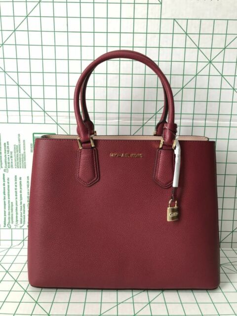 Michael Kors Adele Large Messenger Pebbled Leather Crossbody Bag Mulberry