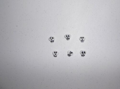 new SKULLS 6 Lampwork Glass Beads