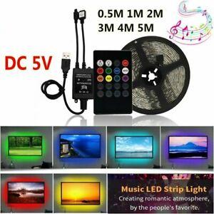 1M-5M-5050-5V-RGB-USB-TV-PC-Background-LED-Strip-Light-Tape-Sound-Music-Light