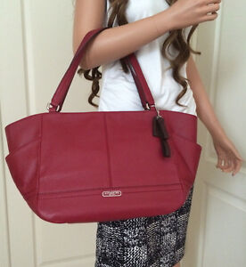 4aa6a41c61 NWT COACH BLACK CHERRY RED LEATHER CARRIE TOTE BAG PURSE Shopper ...
