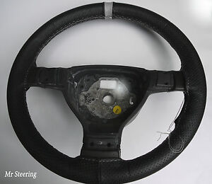 FOR-VOLVO-940-ITALIAN-PERFORATED-LEATHER-STEERING-WHEEL-COVER-GREY-STRAP-90-98