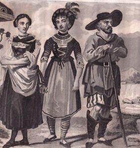 Gravure-Costumes-Tyroliens-Tyrol-Autriche-Empire-d-039-Autriche-Tirolo-Tyrol-Tiroul