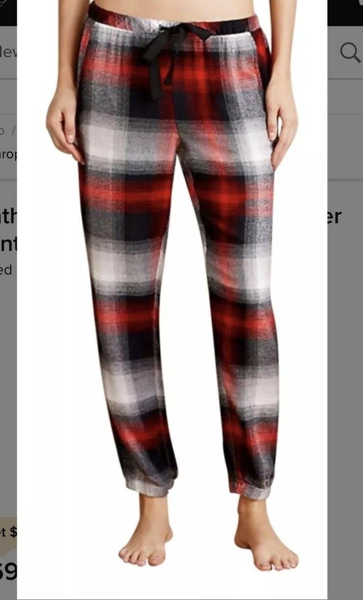 Nwt Anthropologie Cloth Snd Stone Plaid Joggers S Flannel